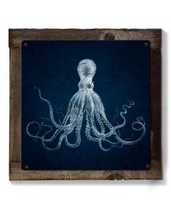 Octopus, Nautical Wall Art, METAL Sign, Lord Bodner, Optional Reclaimed BarnWood Frame, American Steel, Rustic Wall Decor, Vintage