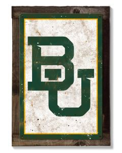 Baylor University Wall Art, NCAA Rustic Metal Sign, Optional Rustic Wood Frame, College Teams, Mascots, and Sports