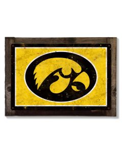 Iowa Hawkeyes Wall Art, Rustic Metal Sign, Optional Rustic Wood Frame, College Teams, Mascots, and Sports