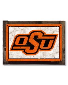 Oklahoma State University Wall Art, NCAA Rustic Metal Sign, Optional Rustic Wood Frame, College Teams, Mascots, and Sports