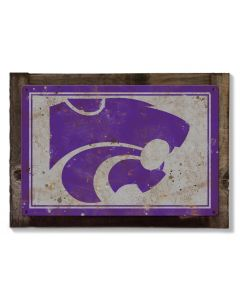 Kansas State Wildcats Wall Art, NCAA Rustic Metal Sign, Optional Rustic Wood Frame, College Teams, Mascots, and Sports