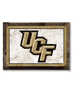 UCF Knights Wall Art, NCAA Rustic Metal Sign, Optional Rustic Wood Frame, College Teams, Mascots, and Sports