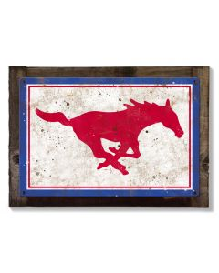 Mustangs Wall Art, NCAA Rustic Metal Sign, Optional Rustic Wood Frame, College Teams, Mascots, and Sports