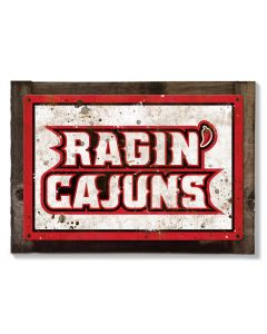 Ragin Cajuns Wall Art, NCAA Rustic Metal Sign, Optional Rustic Wood Frame, College Teams, Mascots, and Sports