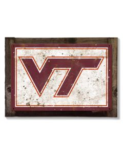 Virginia Tech Wall Art, NCAA Rustic Metal Sign, Optional Rustic Wood Frame, College Teams, Mascots, and Sports