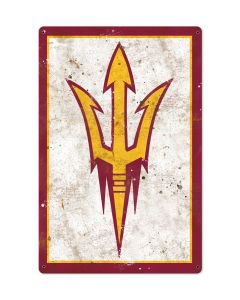 Arizona Sun Devils Wall Art, NCAA Rustic Metal Sign, Optional Rustic Wood Frame, College Teams, Mascots, and Sports