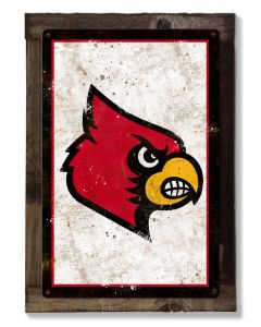 Cardinals Wall Art, NCAA Rustic Metal Sign, Optional Rustic Wood Frame, College Teams, Mascots, and Sports