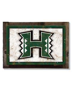 Hawaii Warriors Wall Art, NCAA Rustic Metal Sign, Optional Rustic Wood Frame, College Teams, Mascots, and Sports