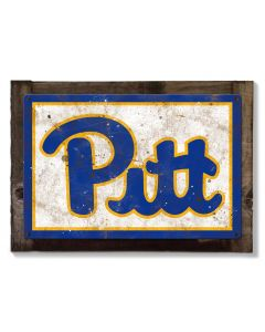 Pittsburg Panthers Wall Art, NCAA Rustic Metal Sign, Optional Rustic Wood Frame, College Teams, Mascots, and Sports