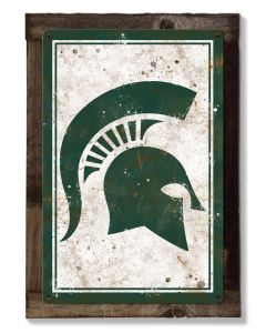 Michigan State Spartans Wall Art, NCAA Rustic Metal Sign, Optional Rustic Wood Frame, College Teams, Mascots, and Sports