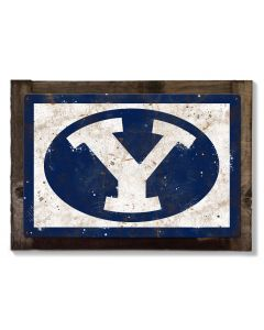 BYU Cougars Wall Art, NCAA Rustic Metal Sign, Optional Rustic Wood Frame, College Teams, Mascots, and Sports