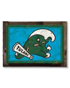 Tulane Green Wave Wall Art, NCAA Rustic Metal Sign, Optional Rustic Wood Frame, College Teams, Mascots, and Sports