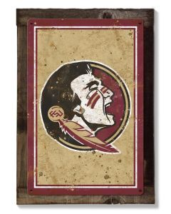 Florida State Seminoles Wall Art, NCAA Rustic Metal Sign, Optional Rustic Wood Frame, College Teams, Mascots, and Sports
