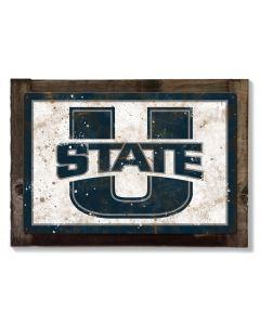 Utah State Wall Art, NCAA Rustic Metal Sign, Optional Rustic Wood Frame, College Teams, Mascots, and Sports