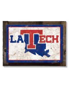 Louisiana Tech Wall Art, NCAA Rustic Metal Sign, Optional Rustic Wood Frame, College Teams, Mascots, and Sports