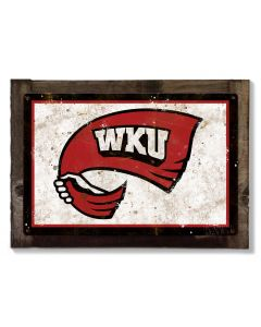 WKU Wall Art, NCAA Rustic Metal Sign, Optional Rustic Wood Frame, College Teams, Mascots, and Sports