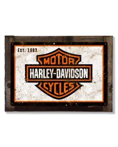 Harley Davidson Wall Art, Metal Sign, Optional Wood Frame