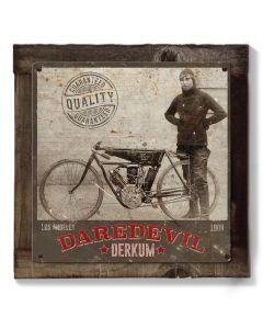 Daredevil Derkum, Motorcycles Wall Art, Metal Sign, Optional Wood Frame