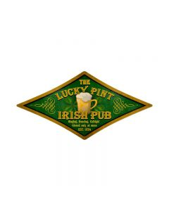 Lucky Pint, Food and Drink, Diamond Metal Sign, 24 X 12 Inches