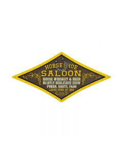Horse Shoe Saloon, Food and Drink, Diamond Metal Sign, 24 X 12 Inches