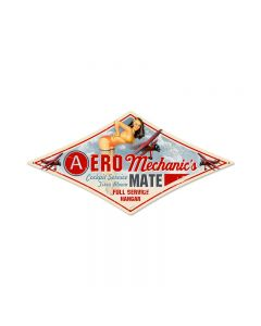 Aero Mechanic, Aviation, Diamond Metal Sign, 14 X 24 Inches