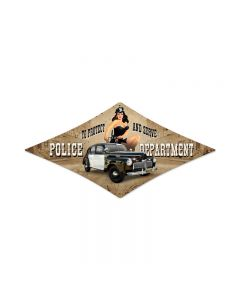 Police Department, Pinup Girls, Diamond Metal Sign, 14 X 24 Inches