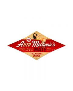 Auto Mechanic, Automotive, Diamond Metal Sign, 14 X 24 Inches