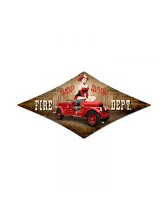 Fire Department, Pinup Girls, Diamond Metal Sign, 14 X 24 Inches
