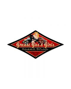 Grease Gas Girls, Automotive, Diamond Metal Sign, 14 X 24 Inches