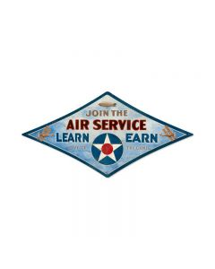 Air Service, Aviation, Diamond Metal Sign, 22 X 14 Inches