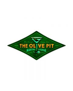 Olive Pit, Food and Drink, Diamond Metal Sign, 14 X 22 Inches
