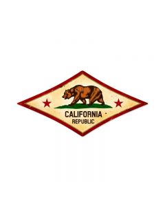 California Flag, Home and Garden, Diamond Metal Sign, 24 X 12 Inches