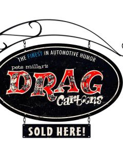 Drag Cartoons, Automotive, Double Sided Oval Metal Sign with Wall Mount, 14 X 24 Inches