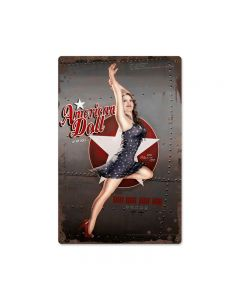 American Doll, Pinup Girls, Metal Sign, 12 X 18 Inches