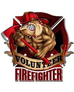 Firefighter Bulldog, Licensed Products/Erazorbits, PLASMA , 18 X 18 Inches