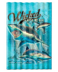 SHARKS WICKED FISH CORRUGATED, Featured Artists/Erazorbits, Corrugated, 16 X 24 Inches