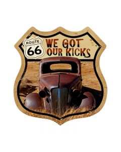 Route 66 Rusty, Automotive, Shield Metal Sign, 15 X 15 Inches