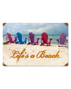 Beach Chairs, Home and Garden, Vintage Metal Sign, 18 X 12 Inches