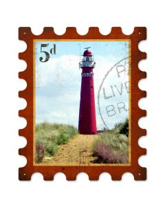 Light House, Home and Garden, Stamp Metal Sign, 15 X 18 Inches