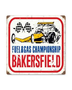 Bakersfield, Automotive, Vintage Metal Sign, 12 X 12 Inches