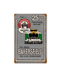 25th Ann Bakersfield, Automotive, Vintage Metal Sign, 18 X 12 Inches