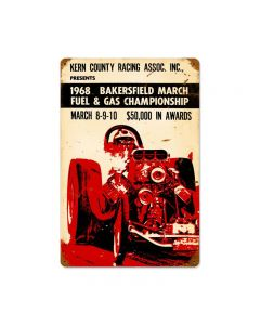 Bakersfield 1968, Automotive, Vintage Metal Sign, 18 X 12 Inches