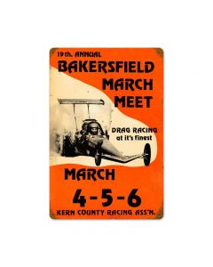 Bakersfield 19th March Meet, Automotive, Vintage Metal Sign, 18 X 12 Inches