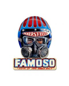 Famoso, Automotive, Helmet Metal Sign, 12 X 15 Inches