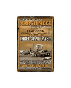 Bakers Field March Meet 2011, Automotive, Vintage Metal Sign, 12 X 18 Inches