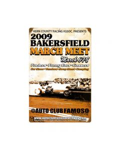 Bakersfield March Meet 2009, Automotive, Vintage Metal Sign, 12 X 18 Inches
