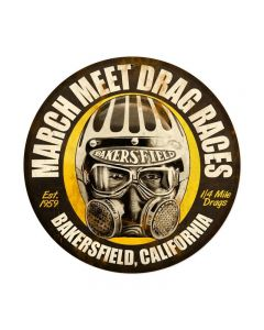 March Meet, Automotive, Round Metal Sign, 14 X 14 Inches