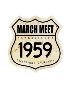 March Meet 1959, Automotive, Shield Metal Sign, 15 X 15 Inches