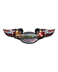 Liberator, Aviation, Winged Oval Metal Sign, 10 X 35 Inches