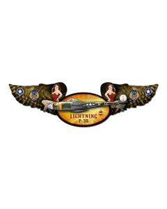 Lightning, Aviation, Winged Oval Metal Sign, 10 X 35 Inches